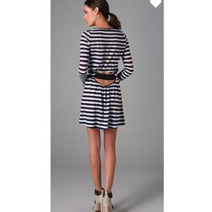 A.L.C. Striped Kate Linen Dress Open Back S $393
